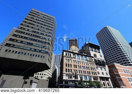 Boston, Usa - June 9, 2013: City Skyline With Fiduciary Trust Building (left) In Boston. Boston Is T