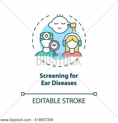 Screening For Ear Diseases Concept Icon. Hearing Loss Prevention Idea Thin Line Illustration. Examin