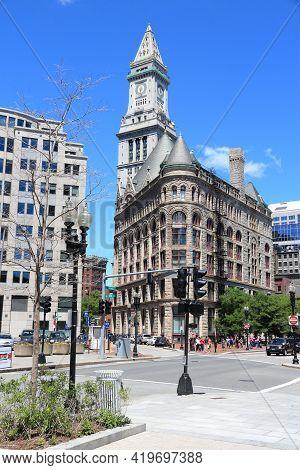Boston, Usa - June 9, 2013: People Visit Downtown Boston. 4.1 Million People Live In Boston Urban Ar