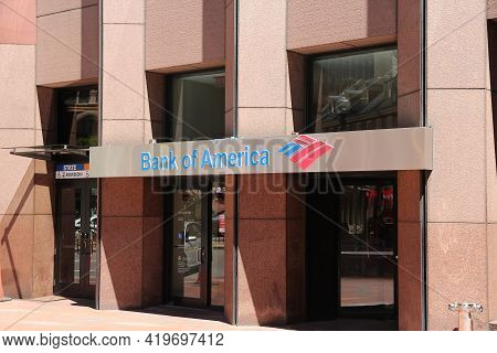 Boston, Usa - June 9, 2013: Bank Of America Branch In Boston. Bank Of America Is The 2nd Largest Ban