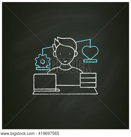 Workaholic Chalk Icon.work Before Personal Lives. Give Preference To Job. Man Works On Laptop. Hard