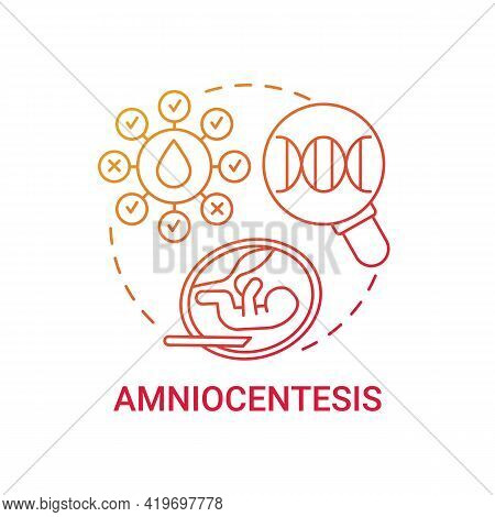 Amniocentesis Red Gradient Concept Icon. Testing Uterus For Fetus Health. Medical Check. Genetic Inh