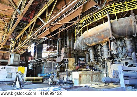 Ostrava, Czech Republic - April 21, 2019: Interior Of An Old Abandoned Rusty Ironworks Factory In Os