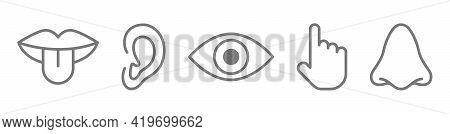 Sense Sign Set. Ear, Eye, Nose, Mouth, Tongue, Hand Line Icons. Five Senses Hear, Taste, Smell, See,