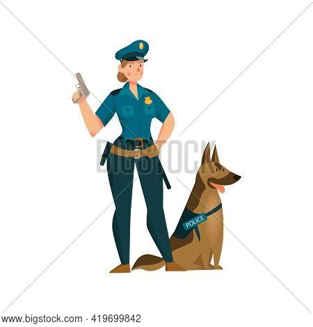 Woman Police Officer In Uniform With Pistol And Shepherd Dog Flat Icon Vector Illustration