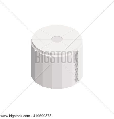 Isometric Water Reservoir Building On White Background Vector Illustration