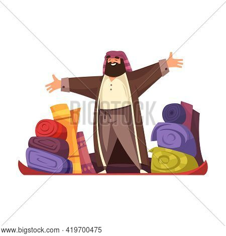 Asian Market Flat Icon With Man Selling Carpets Vector Illustration