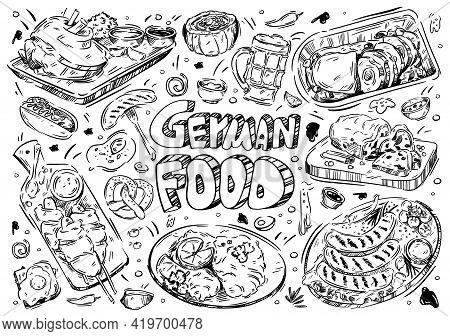 Hand Drawn Vector Illustration. Doodle German Food: Wurst, Kartoffelpuffer, Brezel, Schnitzel, Strud