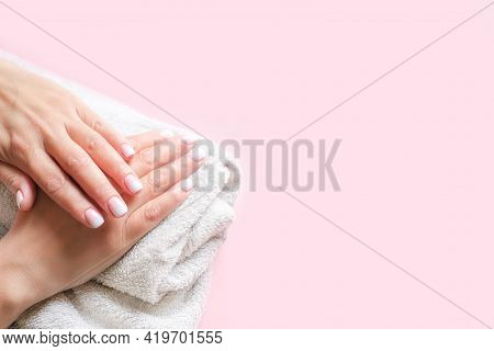 Gradient Manicure And Hands Spa. Beautiful Woman Hand Closeup. Manicured Nails And Soft Hands Skin.