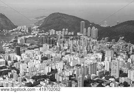 Monochrome Aerial View Of Rio De Janeiro Down Town View From Colcovado Hill, Rio De Janeiro, Brazil