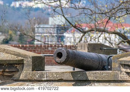 Brno, Czech Republic - April 24, 2021: Spilberk Fortress. Fortress Defensive Cannon. There Are About
