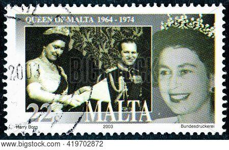 Malta - Circa 2003: Postage Stamp Printed In Malta Shows Queen Elizabeth Ii's 50th Coronation Annive