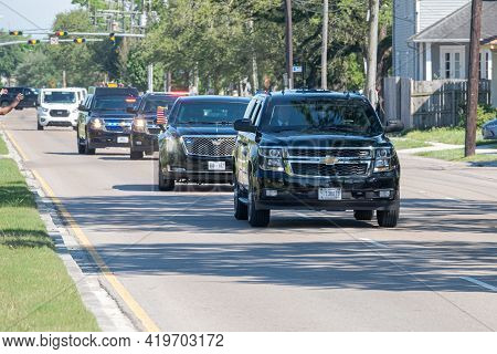 New Orleans, La - May 6: President Joe Biden's Motorcade Travels Rapidly Up Claiborne Avenue For Spe