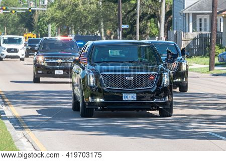 New Orleans, La - May 6: President Joe Biden's Limousine Travels Rapidly Up Claiborne Avenue For Spe