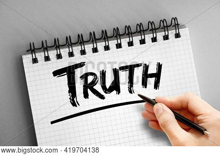 Truth - Text On Notepad, Concept Background