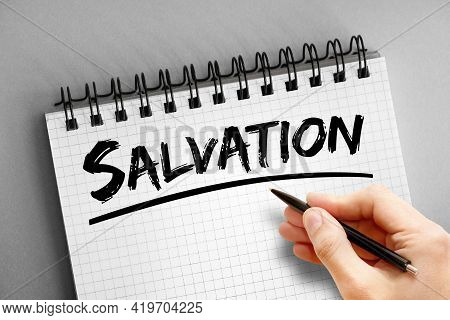 Salvation - Text On Notepad, Concept Background