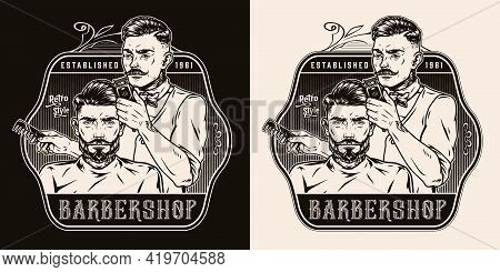 Vintage Barbershop Monochrome Badge With Stylish Mustached Tattooed Barber With Comb Cutting Hair Of