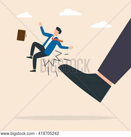 Man Being Kicked By Boss. Kicked Employees Out Of The Company. Vector Illustration