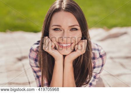 Photo Of Beaming Smile Nice Young Student Woman Hold Hands Cheekbones Weekend Enjoy Outside In Outdo