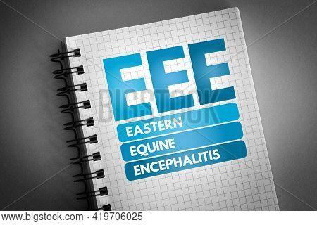 Eee - Eastern Equine Encephalitis Acronym On Notepad, Medical Concept Background