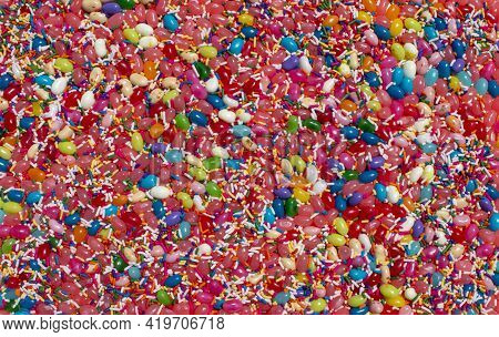 Jelly Beans Jellybean Candy And Sprinkles Food Background With Various Covers And Flavors
