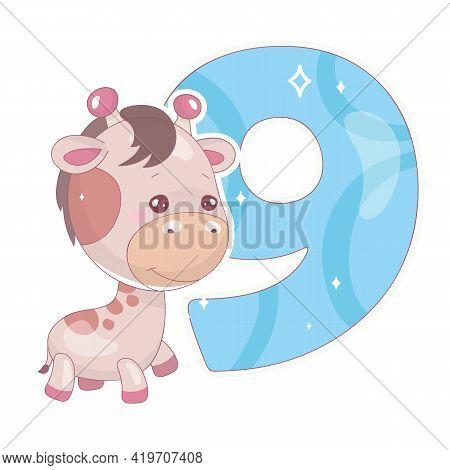 Cute Nine Number With Baby Giraffe Cartoon Illustration. School Math Funny Font Symbol And Kawaii An