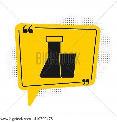 Black Test Tube And Flask Chemical Laboratory Test Icon Isolated On White Background. Laboratory Gla