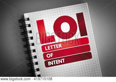 Loi - Letter Of Intent Acronym On Notepad, Concept Background