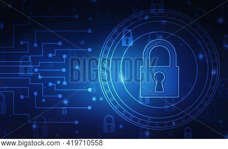Closed Padlock On Technology Background, Technology Security Concept. Modern Safety Digital Backgrou