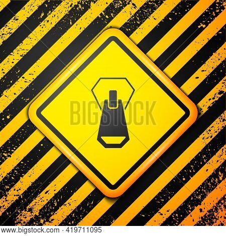 Black Zipper Icon Isolated On Yellow Background. Warning Sign. Vector