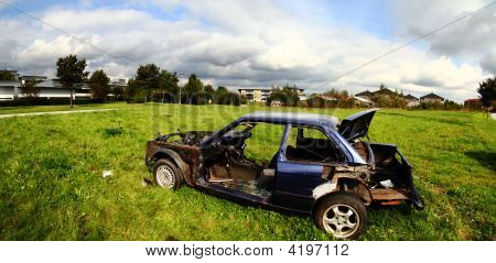Car Wreck Burned Out Vehicle