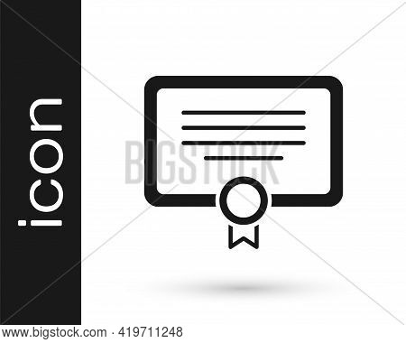 Black Certificate Template Icon Isolated On White Background. Achievement, Award, Degree, Grant, Dip