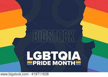 June Is Lgbtqia Pride Month. Holiday Concept. Template For Background, Banner, Card, Poster With Tex
