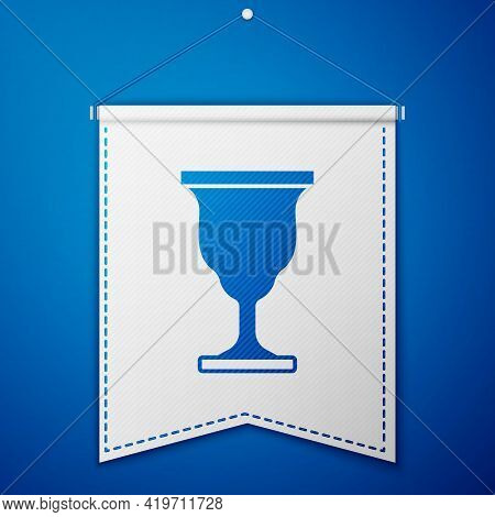 Blue Christian Chalice Icon Isolated On Blue Background. Christianity Icon. Happy Easter. White Penn