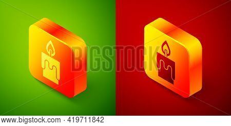 Isometric Burning Candle Icon Isolated On Green And Red Background. Cylindrical Candle Stick With Bu