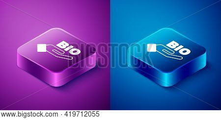 Isometric Bio Green Healthy Food Icon Isolated On Blue And Purple Background. Organic Product. Healt