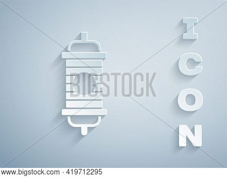 Paper Cut Chinese Paper Lantern Icon Isolated On Grey Background. Paper Art Style. Vector