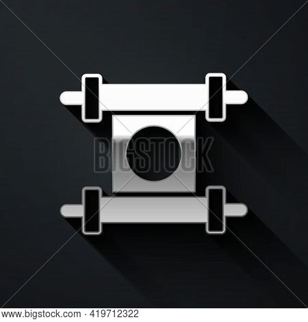 Silver Decree, Paper, Parchment, Scroll Icon Icon Isolated On Black Background. Chinese Scroll. Long