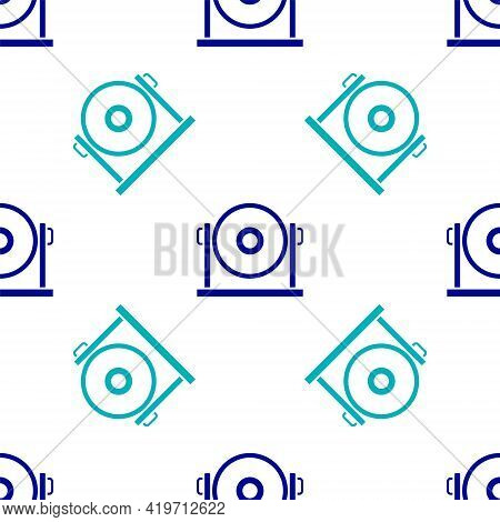 Blue Gong Musical Percussion Instrument Circular Metal Disc Icon Isolated Seamless Pattern On White