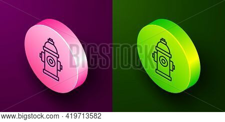 Isometric Line Fire Hydrant Icon Isolated On Purple And Green Background. Circle Button. Vector