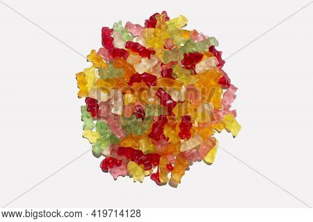 Sweet Candy Gummies Pile Group Assorted Colors On A White Background