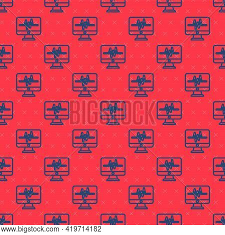 Blue Line Computer Monitor With Cardiogram Icon Isolated Seamless Pattern On Red Background. Monitor