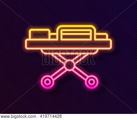 Glowing Neon Line Stretcher Icon Isolated On Black Background. Patient Hospital Medical Stretcher. V