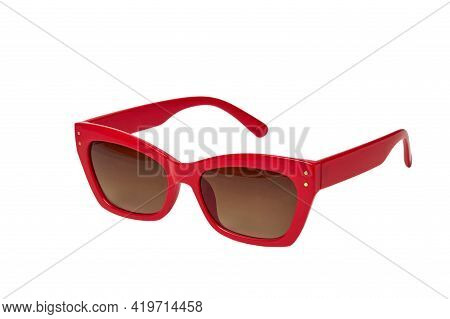 Close-up Glasses To Protect The Eyes From The Sun, The Frame Is Red. Dark Lenses