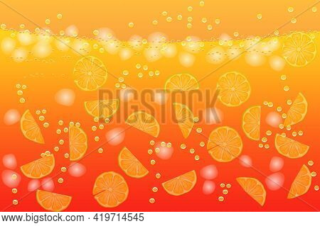 Refreshing Water With Lemon Slices And Ice Cubes. Citrus Lemonade Background. Drink Liquid Pattern.
