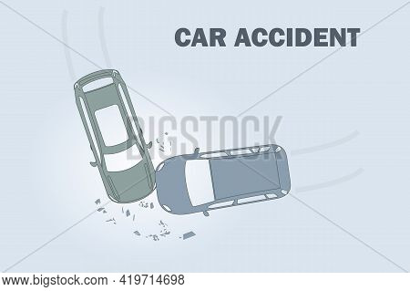 Vehicle Crash. Car Accident Poster Template. Damaged Transport Concept. City Drive Disaster. Two Sma