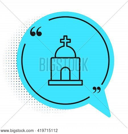 Black Line Old Crypt Icon Isolated On White Background. Cemetery Symbol. Ossuary Or Crypt For Burial