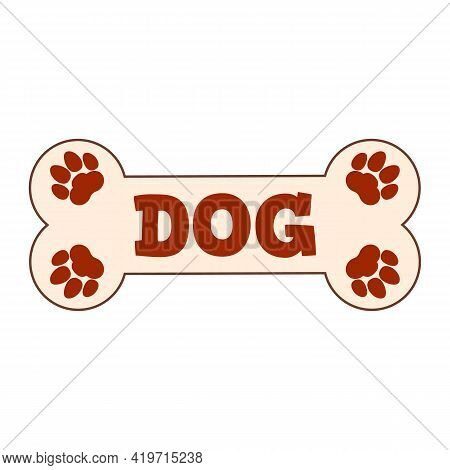 Name Plate For Dog House. Bone And Paws. Clipart And Drawing. Vector Illustration On White Backgroun