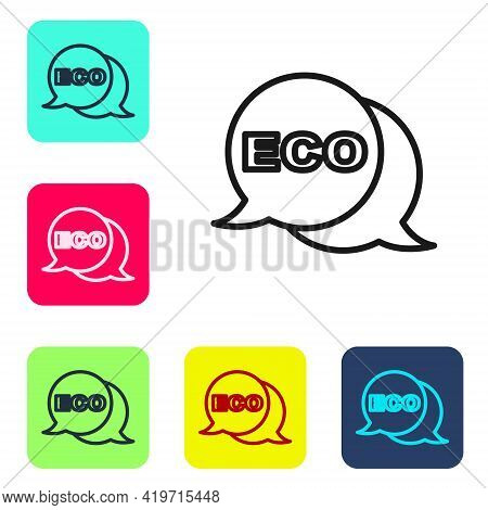 Black Line Banner, Label, Tag, Logo For Eco Green Healthy Food Icon Isolated On White Background. Or