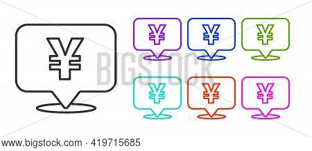Black Line Chinese Yuan Currency Symbol Icon Isolated On White Background. Coin Money. Banking Curre